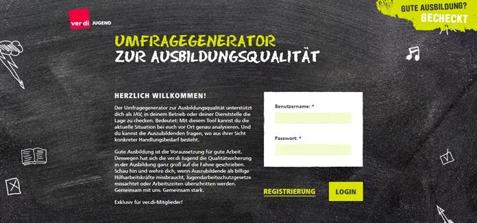 Startseite zum Umfragegenerator der ver.di Jugend